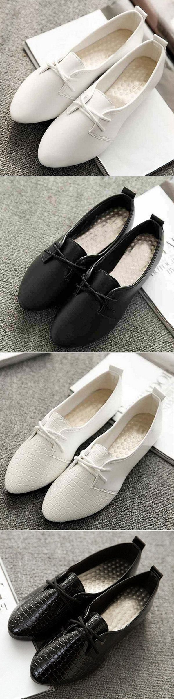 【ONLY US$7.32 】Pure Color Pointed Toe Flat Lace Up Shoes