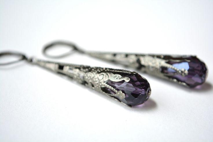 Purple Victorian Dangle Earrings Long Filigree Teardrop Earrings Gunmetal Dark Silver Gothic Jewelry