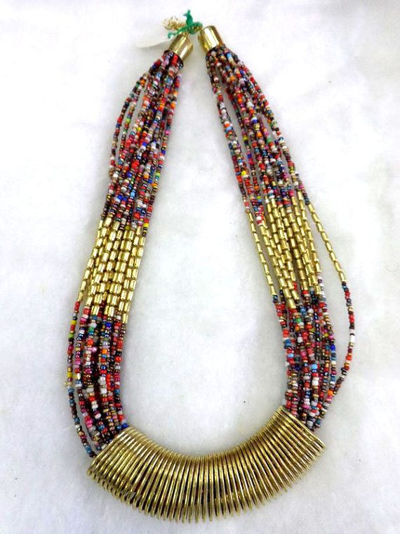 Statement Necklace/ Multi color Necklace/Chunky Necklace/Beaded Necklace/Bib Necklace/Beaded Jewelry , gypsy style handmade