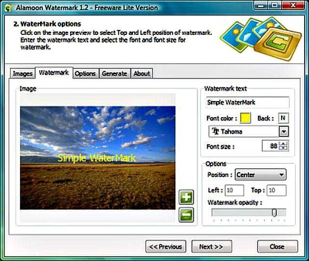 Cuando se quiere reseñar la autoría de una fotografía lo habitual es insertarle una marca de agua, por lo general un texto o imagen transparente con el nombre o emblema del autor.Alamoon Watermark Software...