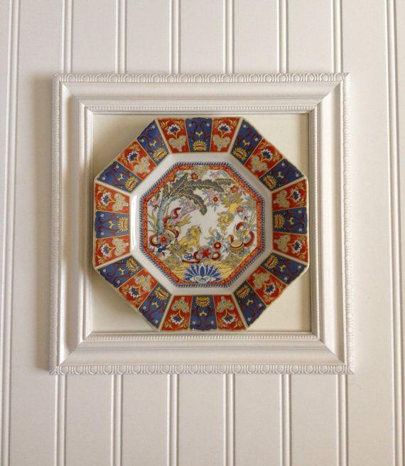vintage mounted framed imari porcelain octagon decorative plate wall decor art display ooak. Black Bedroom Furniture Sets. Home Design Ideas