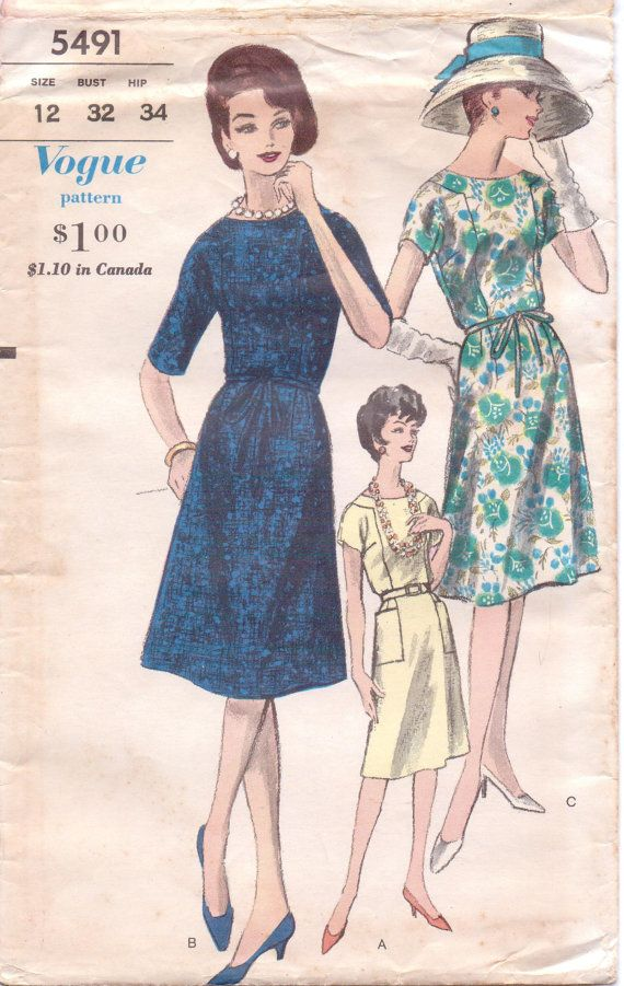 60s Womens Mad Men Dress with Inset Yoke Vogue Sewing ...