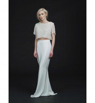 Robe de mariée 2016 : le crop top et la jupe longue de Sarah Seven