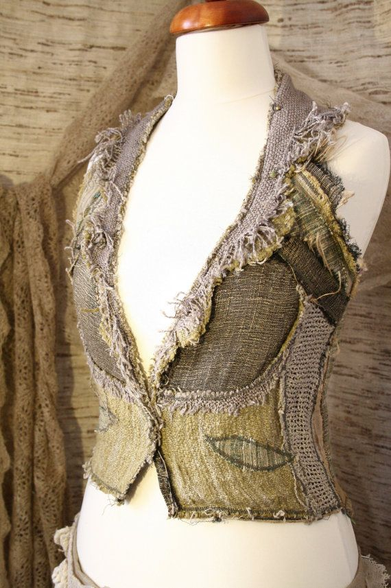 RESERVED for Louise - Lichen Moss Patchwork Waistcoat/Vest. £90.00, via Etsy.