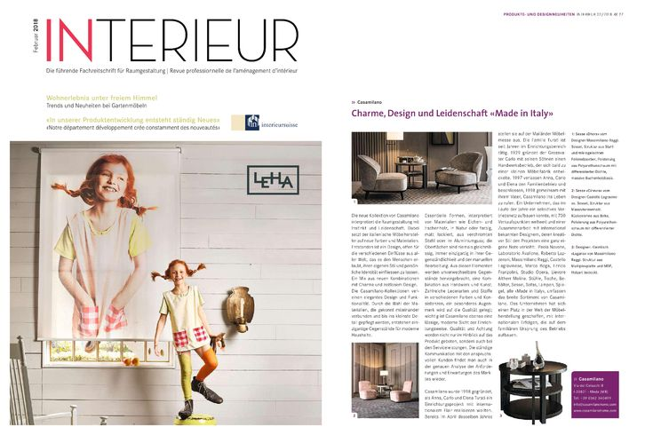 Talking about us... Thanks to Interieur Suisse for the beautiful page dedicated to Casamilano home collection #casamilano #interieursuisse #interiordesign #interiordesigner #interiordecor