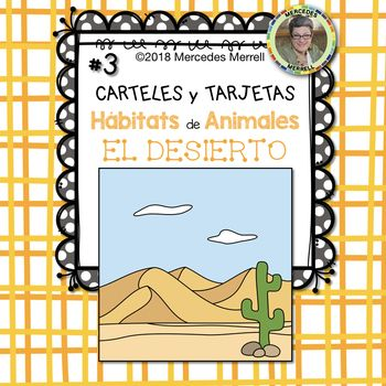 This is set #3 of a Growing Bundle: ANIMAL HABITATS Posters and Cards for the FARM OCEAN DESERT MOUNTAIN FOREST SAVANNA RAINFOREST and POLAR REGIONS in SPANISH titled: ¡Paquetón! CARTELES y TARJETAS Hábitats de Animales en la GRANJA SABANA