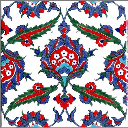 an antique ottoman iznik tile with links to the Iznik Foundation (now reviving the ancient skills :)