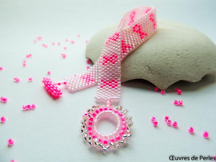 Bracelet de perle Miyuki en peyote rose avec rubans cancer du sein - Octobre rose - de la boutique OeuvresdePerles sur Etsy