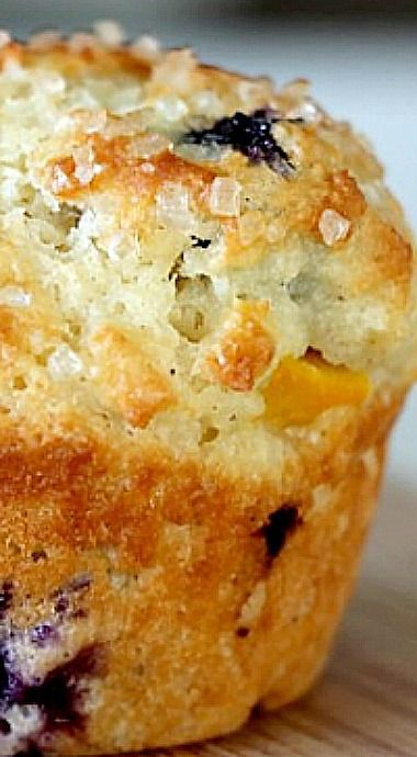 Peach and Blueberry Greek Yogurt Muffins - The peaches and blueberries…