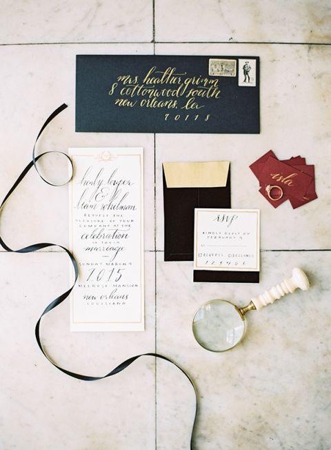 Elegant Black and Gold Invitation Suite with Pops of Marsala | Marissa Lambert Photography | http://heyweddinglady.com/modern-southern-glamour-preppy-stripes/