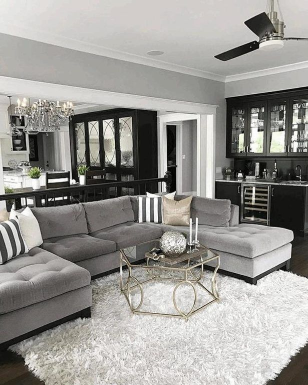 Living Room Hexagon Clear Glass Coffee Table With Gold Leg Hanging Light With Black Fan Black Ki Living Room Colors Grey Couch Decor Living Room Color Schemes