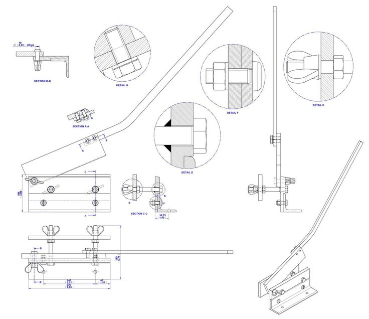 Sheet metal bench shear plan - Assembly drawing