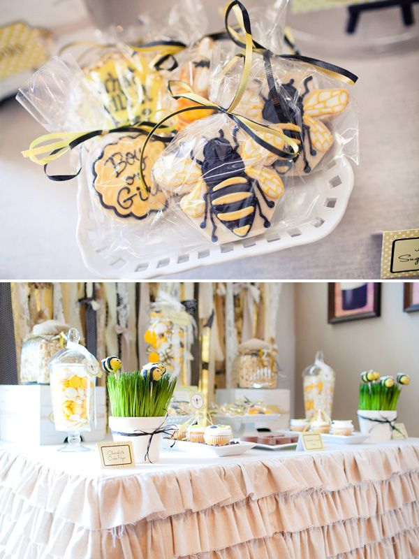 love the ruffled tablecloth!Baby Bees, Gender Reveal Parties, Cute Ideas, Bees Parties, Bees Theme, Parties Ideas, Bees Gender, Honey Bees, Baby Shower