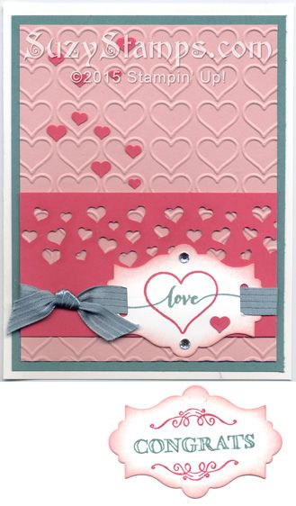 Stampin' Up! Cards - 2015-01 Class - Hello Life or Sale-A-Bration Simply Wonderful Life stamp set, Happy Heart Embossing Folder, Apothecary Accents Framelits Dies, Confetti Heart Border Punch