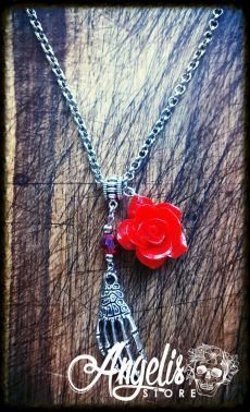 Skeleton Hand and Red Rose Necklace