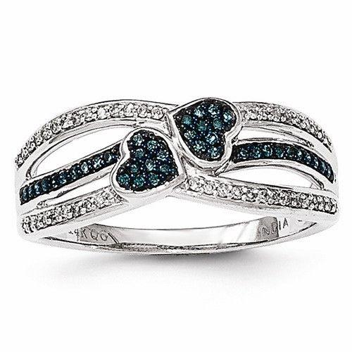 14K White Gold Blue & White Diamond Heart Ring
