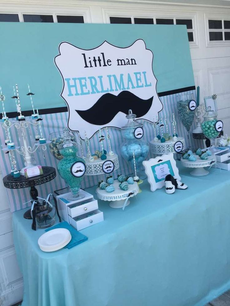 What a great mustache baby shower party! See more party planning ideas at CatchMyParty.com!