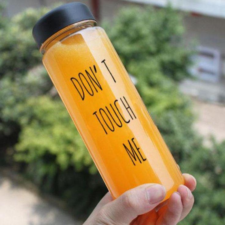 2017 New Creative Bottle 500ml Plastic Water Bottle Travel Camping Lemon Juice Drinkware Don't touch me