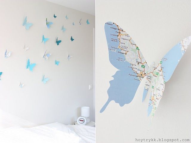 Wall Decor, Butterflies Wall, Maps Butterflies, Wall Hanging, Sweets Chilis, Butterflies Maps, White Bathroom, Butterflies Art, Paper Butterflies