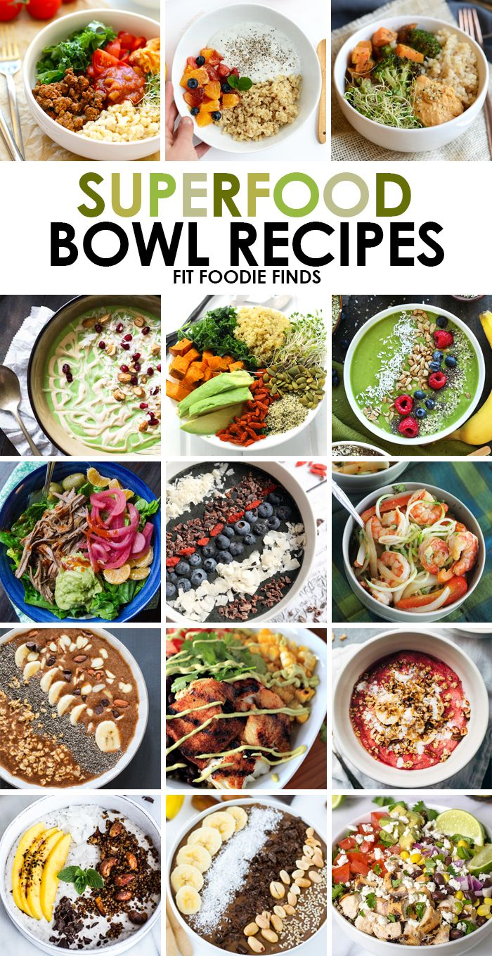 Need healthy recipe inspiration? Check out these 15 Superfood Bowl Recipes for different meal combinations for breakfast, lunch, and dinner!