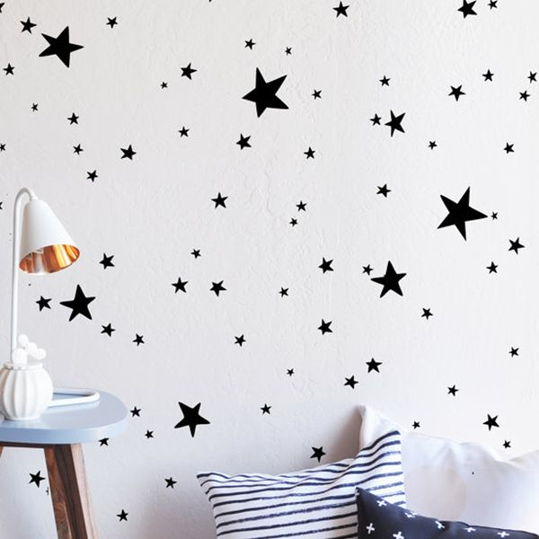 "It's no secret that we absolutely adore wall decals. They offer an easy and affordable solution to tackle those blank nursery walls without the commitment of wallpaper or paint. Fully removable and reusable, you can use this 100-piece star decal set in black to create a unique design of your own. Go ahead, you'll love them! Dimensions & Details: Each set includes 100 stars, ranging in size from .5""-4.5"" 100% polyester fabric self adhesive vinyl To clean please u..."