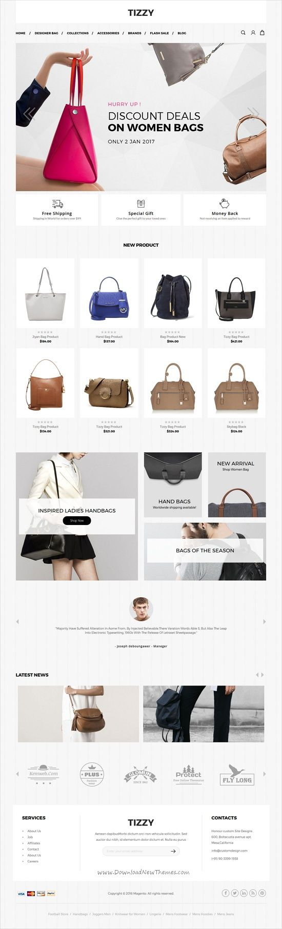 Tizzy is beautifully design 3in1 responsive #Magento theme for #webdev #bag #shop stunning eCommerce websites download now➩  https://themeforest.net/item/tizzy-multipurpose-responsive-magento2-theme-fashion-store-watch-store-cosmetic-bag-store/19288085?ref=Datasata