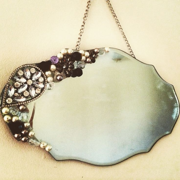 Vintage style mirror with costume jewellery