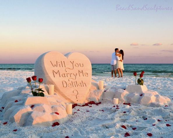 People get married on the beach..., but how about a marriage proposal... with a sand sculpture!? Featured at Beach Bliss Living: http://beachblissliving.com/amazing-sand-castles-funny-sand-sculptures/