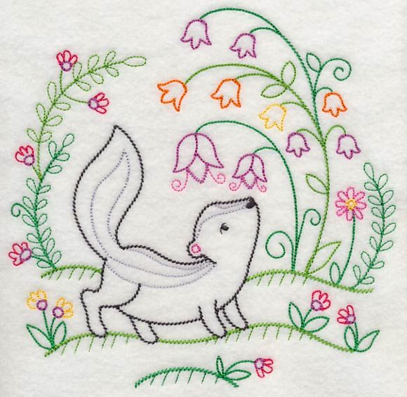 Image by EMBROIDERY LIBRARY INC - Skunk Smells the Flowers (Vintage)