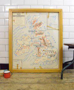 Vintage Industrial French School Wooden Framed British Isles UK Map | lovelitter.co.uk | Warehouse Home Design Magazine