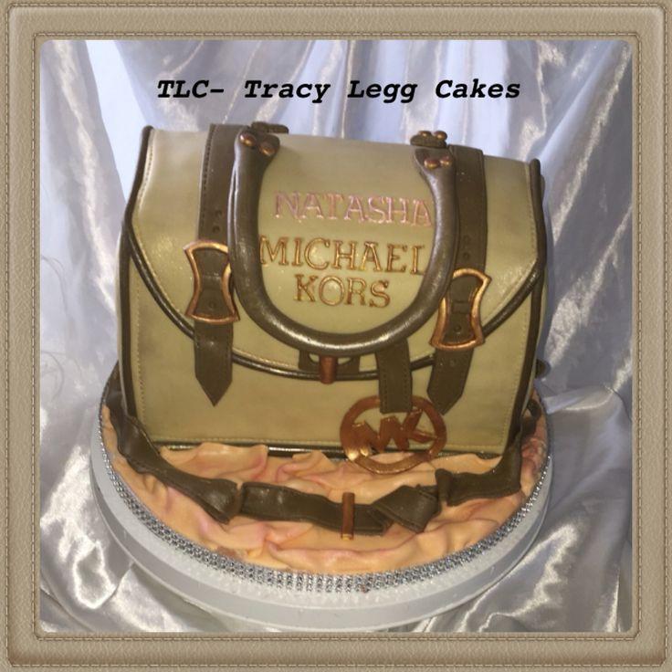 "Michael kors bag cake - 10"" square carved cake"