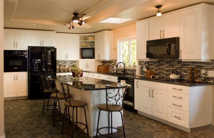 Black appliances and white or gray cabinets how to make - Kitchen designs with white cabinets ...