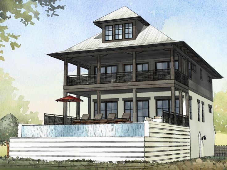 14 best the woody cabins images on pinterest log cabin for Beach house elevation designs