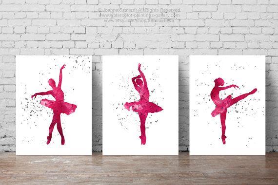 Silhouette de tutu rose du parti ballerine, impression d'art aquarelle de ballet, ensemble de 3 ballerine cadeau de ballet cadeau, peinture murale   – bottle painting
