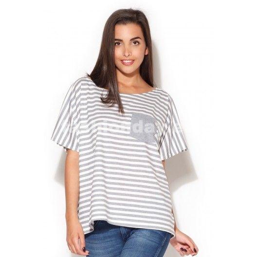 Letné dámske tričká bielej farby so sivými pásikmi - fashionday.eu