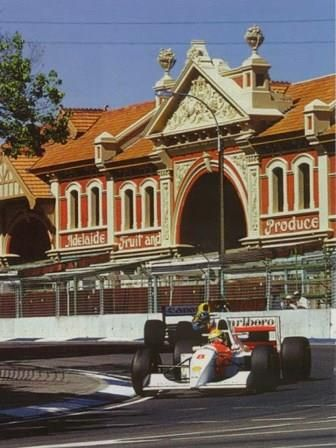 Ayrton Senna driving a McLaren-Ford to win the 1993 Australian Grand Prix.