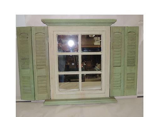 SHUTTER MIRROR WINDOW Sage Green & Cream Homco Home