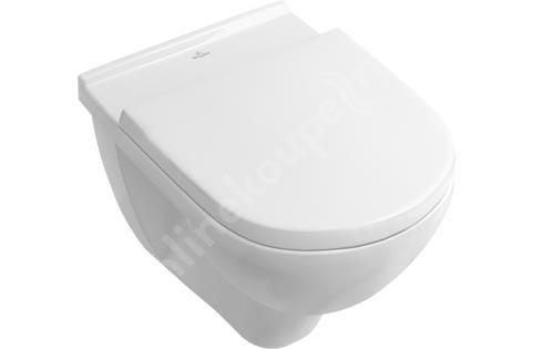 Villeroy & Boch O.novo - Závěsný klozet s WC sedátkem Combi-Pack, 360 mm x 560 mm, bílý - Combi-Pack, s Ceramicplus 5660H1R1