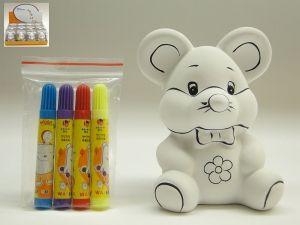 Detalle infantil hucha raton de ceramica para pintar para regalar a los niños #Grandetalles