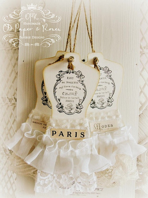 french style dress form tags--love these!