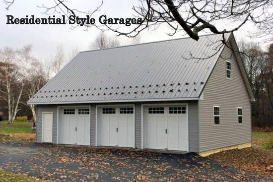 View pole barn Garages with Attics, Carriage-style doors ...