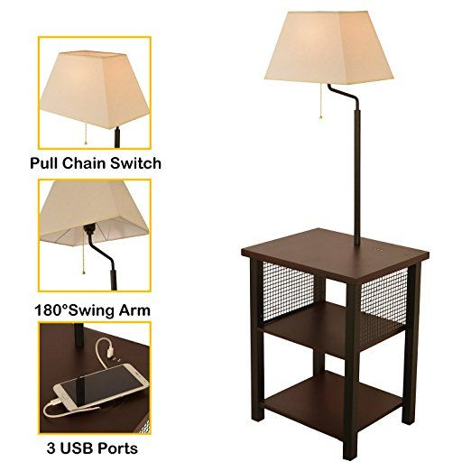 Wayking Floor Lamp Attached With Two Tier End Table And Swing Arm Combination Brown Tray Table Lamp With Three 5v 3a Usb Chargin Fabric Shades Lamp Floor Lamp
