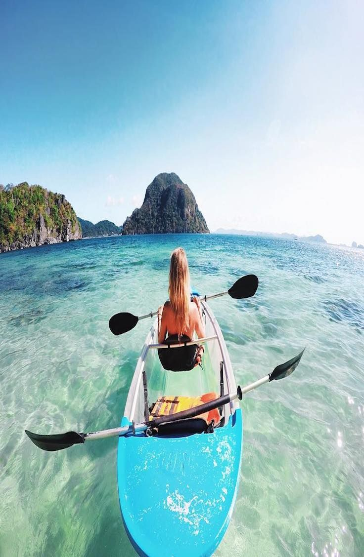 "El Nido - Palawan, Philippines saltinourhair ""Glass bottom kayaking in El Nido"""