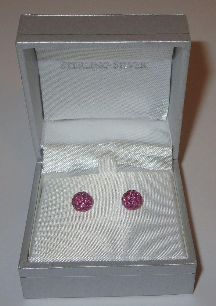 Rhinestone Fireball Earrings Pink Pierced Sterling Silver New in Box 7mm  #Paley #Stick