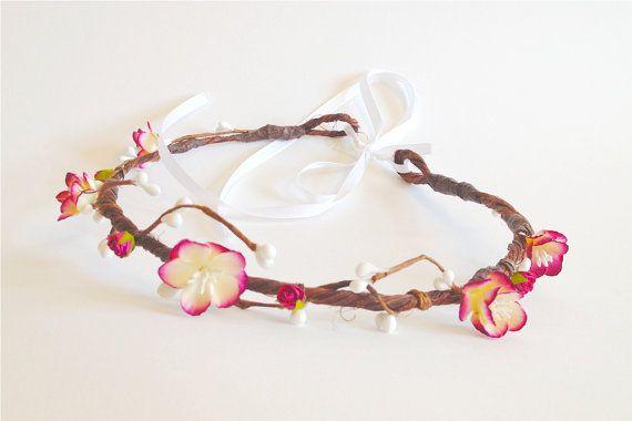 Pink blossom crown Bridal crown Pink Wedding by WoodlandBlossoms