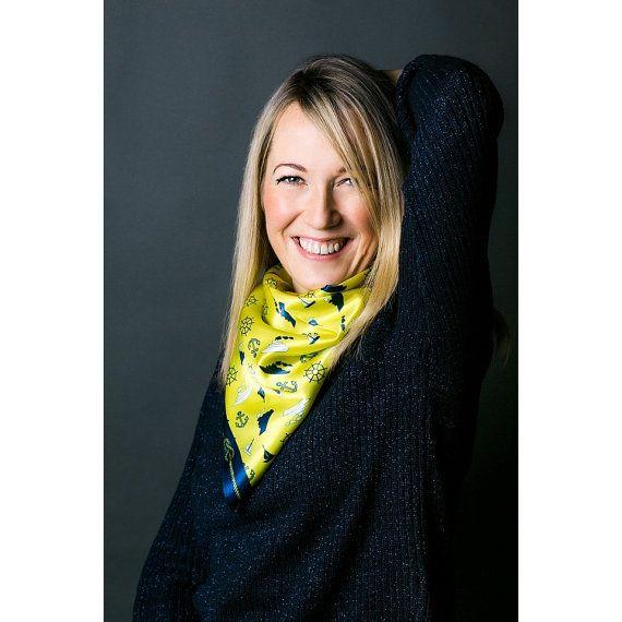 Sea theme on a yellow square silk satin scarf  Women fashion