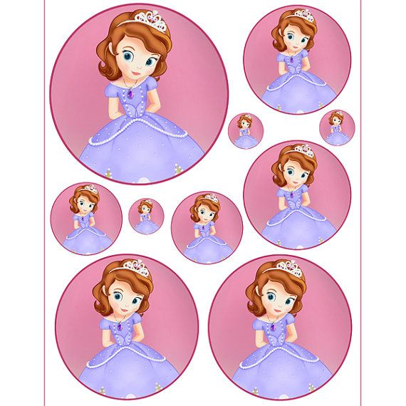 INSTANT DOWNLOAD Sofia the First -Birthday party favors, hershey kisses,goodie bags,balloons,cupcake toppers,centerpiece, stickers on Etsy, $2.50