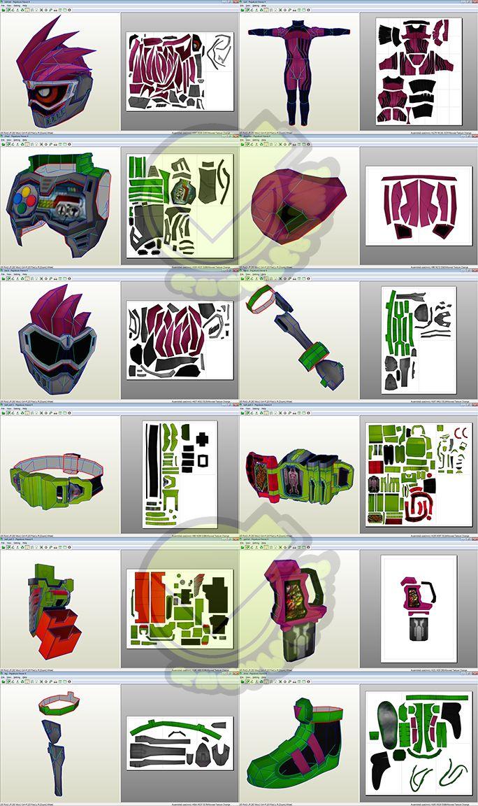 Kamen Rider Ex Aid Costume Template / Pattern Pepakura 3D Model