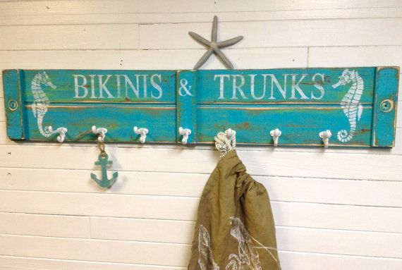 Beach House Hook Rack Sign Seahorse Bikinis and by CastawaysHall