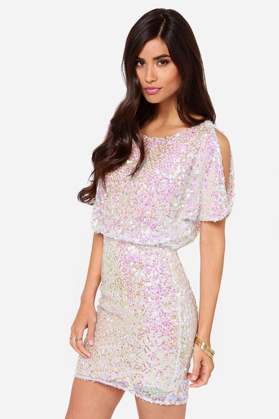 White Multicolor LULUS Exclusive Make Me Over Cream Sequin Dress @ Lulu's $70 CUTE